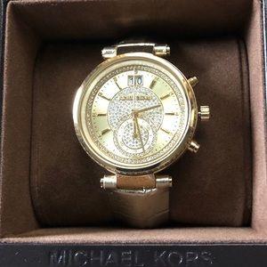 MichaelKors,Rhinestone Embellished Gold Watch NWT